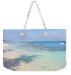 """Endless Blues. White Boat Weekender Tote Bag (24"""" x 16"""") by Jenny Rainbow.  The tote bag is machine washable and includes cotton rope handle for easy carrying on your shoulder.  All totes are available for worldwide shipping and include a money-back guarantee."""