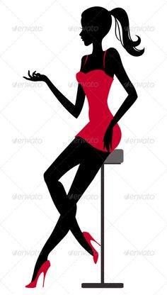 Silhouette of Girl sitting at the Bar - People Characters