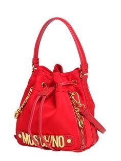 moschino - women - shoulder bags - mini logo lettering nylon bucket bag