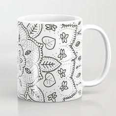 Vegetal mandala Coffee Mug by laurafrere Graphic, Illustration, Coffee Mugs, Patterns, Tableware, Stuff To Buy, Mandalas, Pattern, Drawing Drawing