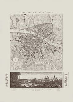 FLORENCE ITALY MAP Vintage Italy Map Print by EncorePrintSociety