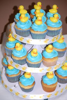 Toy topped cupcakes at a Rubber Duckies Baby Shower!  See more party ideas at CatchMyParty.com!
