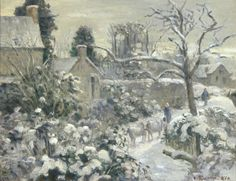 Artist Name: Camille Pissarro Nationality & Life Dates: French, 1830–1903 Title: Snowscape with Cows at Montfoucault Date: 1874 Medium: Oil on canvas