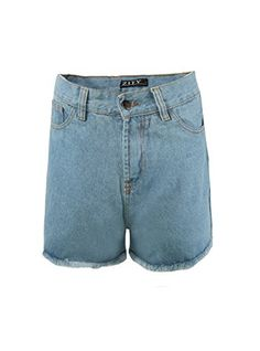 Zity Lady Women Retro Girl High Waisted Oversize Crimping Boyfriend Jeans Shorts Pant Light Blue 10 * Check out the image by visiting the link. (This is an affiliate link) Long Shorts, Denim Shorts, Boyfriend Jean Shorts, Vintage High Waisted Shorts, Retro Girls, Short Outfits, Patterned Shorts, Crimping, Women Shorts