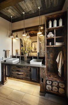 Trending: Remote Luxury – Inspired by Marvin Rustic Bathroom Designs, Bathroom Interior Design, Rustic Cabin Bathroom, Log Cabin Bathrooms, Lodge Bathroom, Rustic Bathroom Lighting, Craftsman Bathroom, Rustic Bedrooms, Rustic Kitchen Design