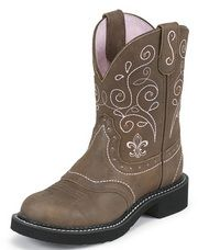 This ladies Justin Gypsy boot is all the rage with today's cowgirl.  The style with its fashion toe and 8