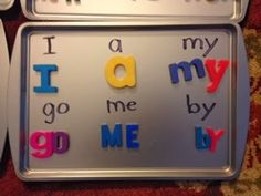 A great idea! Magnetic Letters on Cookie Sheets make great practice during writing centers. Your students will be mastering their sight words in no time!