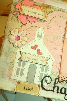 Wedding Scrapbook Album - Project Ideas - Many Pages of ideas here. Over 120 page views for inspiration.  Vintage Nest Designs, Creative Handmade and Hand Painted Designs