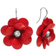Red Flower Drop Earrings ($8.40) ❤ liked on Polyvore featuring jewelry, earrings, red flower earrings, blossom jewelry, red jewellery, flower jewellery and red earrings