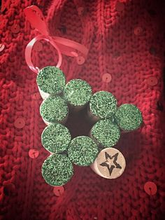 Items similar to Green Glitter Cork Christmas Tree Ornament on Etsy Wine Cork Art, Wine Cork Crafts, Wine Craft, Bottle Crafts, Wine Corks, Wooden Crafts, Christmas Ornament Crafts, Holiday Crafts, Christmas Crafts