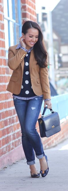 The formula for a perfect preppy casual outfit - gingham shirt, camel blazer, polka dot sweater and denim! You'll be look chic and sophisticated for the office, a lunch date or brunch!