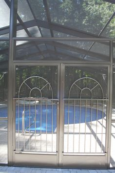 Hemingway Style Screen Door Grilles Installed On Double Doors Of Enclosure In Saratoga Springs Ny By All Weather And Grille
