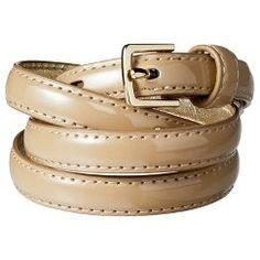 Women's Merona® Patent Skinny Belt - Tan L