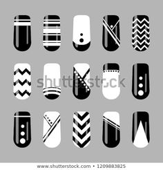 Vector set of black and white geometric nails template Nail art design. Vector set of black and white geometric nails template Black And White Nail Designs, Black And White Nail Art, Black Nails, Red Black, White Acrylic Nails, Pink Nail Art, Glitter Nail Polish, Nail Art Blanc, Nail Art Designs