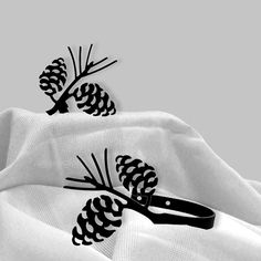 Amazon.com: Iron Pine Cone Curtain Hold Tie Backs -Set of 2-Black Metal: Kitchen…
