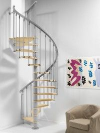 Fontanot Nice Spiral Staircase cm - B&Q for all your home and garden supplies and advice on all the latest DIY trends Spiral Staircase Kits, Spiral Stairs Design, Timber Staircase, Steel Balustrade, Loft Stairs, Loft Room, One Bedroom, Home Interior Design, Living Spaces