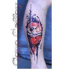 Daruma Tattoo by Gene Coffey. #inked #inkedmag #tattoo #daruma #art #idea #colorful #watercolor