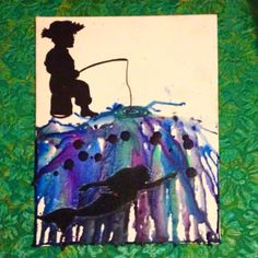 Fishing for mermaids-melted crayon art