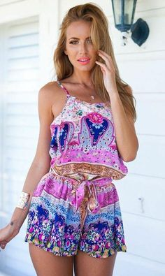 Cheap summer jumpsuit, Buy Quality rompers womens jumpsuit directly from China women jumpsuit Suppliers: Purple Printed Short Rompers bodysuit 2017 New Combishort Femme Summer Jumpsuit Off Shoulder Playsuit rompers womens jumpsuit Mode Shorts, Manga Floral, Look Boho Chic, Boho Style, Moda Fashion, Fashion Trends, Gypsy Fashion, Fashion Sale, Trendy Fashion