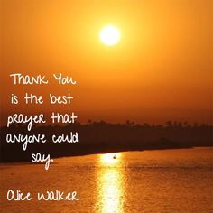 Thank You is the best prayer that anyone can say. — Alice Walker, novelist and poet