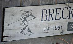 "Breckenridge Colorado Ski Resort Sign - Vintage, Distressed wood sign 82"" x 11.25"""