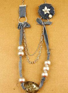 Dazzle with Denim Necklace