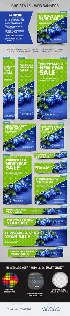 Christmas Sale Web Banners Template PSD #design Download: http://graphicriver.net/item/christmas-sale-banners/13944152?ref=ksioks