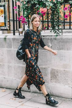 Street Style_ capped sleeve printed maxi dress with deep back hem split layered with long sleeve t-shirt and worn with cut-out ankle boots || Saved by Gabby Fincham ||