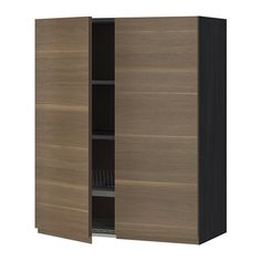 IKEA - METOD, Wall cabinet w dish drainer/2 doors, wood effect black, Voxtorp walnut effect, 80x100 cm, , You can customise spacing as you need, because the shelf is adjustable.Sturdy frame construction, 18 mm thick.Snap-on hinges can be mounted on the door without screws, and you can easily remove the door for cleaning.