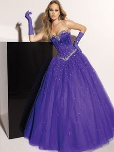 2012 Style Ball-Gown Sweetheart  Rhinestone Sleeveless Floor-length Tulle  Grape Prom Dress / Evening Dress