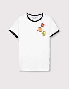 Pull&Bear - man - t-shirts - edged t-shirt with patches - off white…