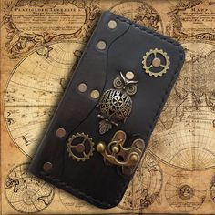 Handmade leather iPhone 6 case  steampunk leather by PapyrusCrafts