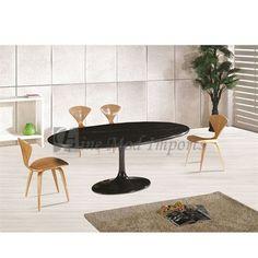 "Eero Saarinen Style Oval Tulip Marble-Top Dining / Conference Table Black 78""  $1500"
