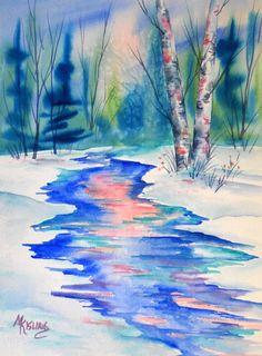 Watercolor of Mountain Stream Aspens  Martha by MarthaKislingArt