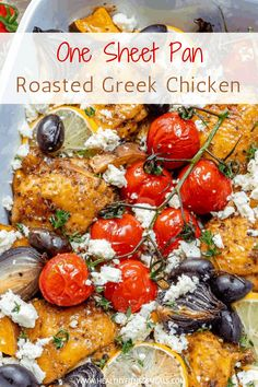 KEEPER Easy to make Greek Chicken Recipe made in one pan and baked to perfection. Loaded with greek flavors, filling, and so delicious. Perfect for a weeknight dinner that everyone will enjoy. Healthy Greek Recipes, Greek Chicken Recipes, Chicken Skillet Recipes, Easy Baked Chicken, Easy Fish Recipes, Baked Chicken Breast, Healthy Foods, Healthy Eating, Best Dinner Recipes