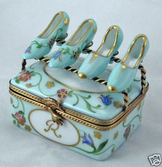 New French Limoges Box Gorgeous Turquoise Floral Shoebox w 2pairs of Pumps Shoes | eBay
