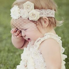 Lace Baby Headband Birdcage Veil Matching Romper by PoshPeanutKids