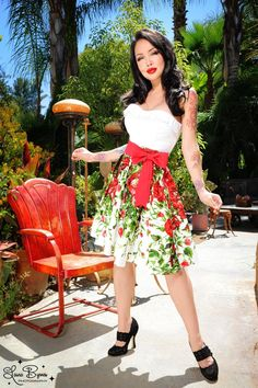 Audrey Skirt in Red Floral Border Print and Red Sash Bow