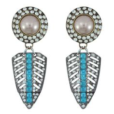 Pink Pave Art Deco Pearl Crystal Drop Earrings | Earrings | Jewelry | Jewelry & Accessories | SOPHIE'S CLOSET®