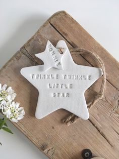 Twinkle Twinkle personalised christening or new baby gift / white clay star / nursery decor Clay Christmas Decorations, Christmas Clay, Christmas Crafts, Christmas Ornaments, Xmas, Polymer Clay Crafts, Diy Clay, Clay Ornaments, Diy Décoration