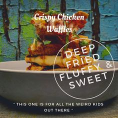 Crispy Chicken Waffles: This one is for all the Weird Kids out there. Weird Kids, Crazy Kids, Chicken Spices, Crispy Chicken, A Food, Good Food, Fluffy Waffles, Sandwiches, Creamy Coleslaw