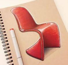 In 1967 Verner Panton and Vitra paired up to make this… Friday Panton Chair. In 1967 Verner Panton and Vitra paired up to make this… Drawing Furniture, Chair Drawing, Furniture Sketches, Panton Chair, Interior Design Renderings, Interior Sketch, Sketch Design, Design Art, Design Thinking Process
