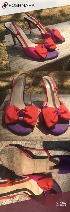 Kate Spade high heel Its preowned   Beautiful color combinations of Purple, Orange and hot pink great for night out or family get together. Stress free heels this heel is showing the dusty or maybe just needed cleaning it will be grand again 😊 leather and the materials are all intact ❤️ kate spade Shoes Heels