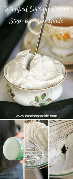 How to make Whipped Coconut Cream – a step-by-step guide with photographs! A perfect alternative to whipped cream – dairy-free, vegan and delicious. Vegan Breakfast Recipes, Delicious Vegan Recipes, Yummy Food, Kitchen Recipes, Baking Recipes, Dessert Recipes, Clean Recipes, Sweet Recipes, Coconut Whipped Cream