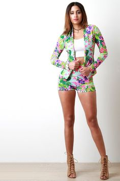 Blooming Tropical Flowers High Waisted Shorts – Style Lavish