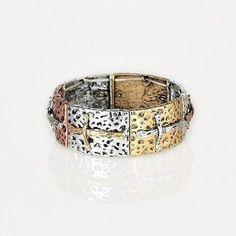 Sideway Cross Bracelet, Tri-tone