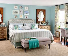 The mixture of textures and patterns in this incredible bedroom make it so unique! Click through for more of our favorite bedrooms: http://www.bhg.com/rooms/bedroom/master-bedroom/25-of-our-favorite-real-life-bedrooms-/?socsrc=bhgpin011414coolbluewalls&page=22