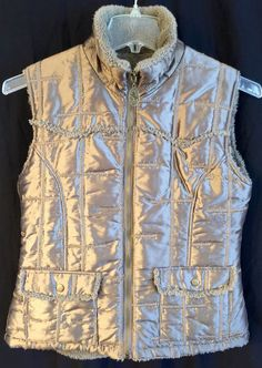 COWGIRL UP Vest SZ Medium Puffy Quilted Shimmery Taupe Fuzzy Fleece Lined Zip M  | eBay