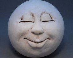 Man-in-the-Moon Garden Head, Antique White/Eggshell Moon Garden, Moon Art, Stone Carving, Stone Painting, Clay Art, Pottery Art, Ceramic Art, Painted Rocks, Sculpture Art