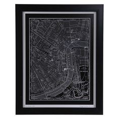 New Orleans Map  $89.99 Sku:139895 Dimensions:23Wx29H This vintage city plan of New Orleans dates back to 1895. Uniquely printed on black with while lettering is just what any office or study would need to add a touch of sophistication. The black color adds a deep look, making it a focal point to your room. Please visit our website for warranty and benefits.